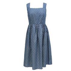 Lowie Denim Spot Lace Back Midi Cotton Dress
