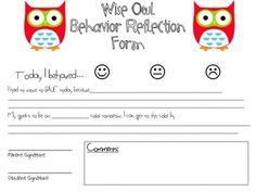 Owl-y Behavior Clip Chart reflection form
