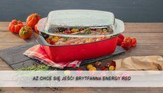 Brytfanna w przepięknym kolorze czerwieni. Butter Dish, Dishes, Kitchen, Red, Cooking, Tablewares, Kitchens, Cuisine, Dish