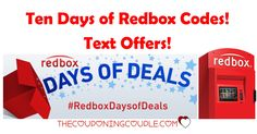WOOHOO! Time for a cheap-o movie night! Text to get Ten Days of Redbox Codes! Get $0.50 off one movie rental to BOGO movie rentals and so much more! Text every day!  Click the link below to get all of the details ► http://www.thecouponingcouple.com/ten-days-of-redbox-codes-text-offers/ #Coupons #Couponing #CouponCommunity  Visit us at http://www.thecouponingcouple.com for more great posts!