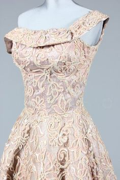 ~A pale pink sequined evening gown 1950s~