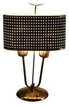 Industrial/Modern ~ Metal table lamp ~ love the perforated shade ~ great design!