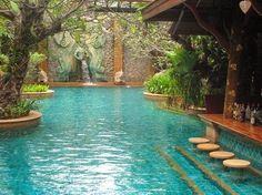 Sawasdee Village Resort, Thailand » This is a gorgeous pool, love the color of the water/tile.