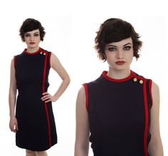 60s MOD Military Dress 60s 1970s Vintage 70s by neonthreadsdesigns, $45.00