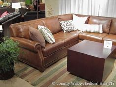 leather sectional with nail heads- Country Willow Furniture