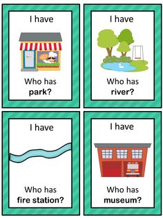 This ESL game can be played to practice English town words. The game has 38 cards with a colorful frame and 38 cards with a simple black frame to save you ink. There are 4 cards per page.