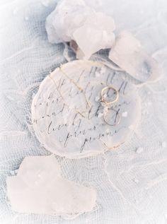 Photography: Sally Pinera - sallypinera.com Calligraphy: The Little North Sea Studio - thelittlenorthseastudio.com   Read More on SMP: http://www.stylemepretty.com/2016/01/19/coastal-winter-white-wedding-inspiration/