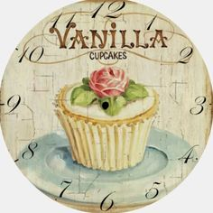 clock face with one cupcake Decoupage Vintage, Decoupage Paper, Clock Face Printable, Diy And Crafts, Paper Crafts, Cupcake Art, Cupcake Painting, Images Vintage, Vintage Labels