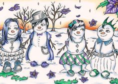 Winter Ice Snow Snowman Punk Christmas Teen - ACEO Archival Print 3 of 10 Matte #PopArt