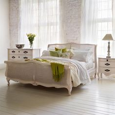 Louis XV luxury caned and painted bed