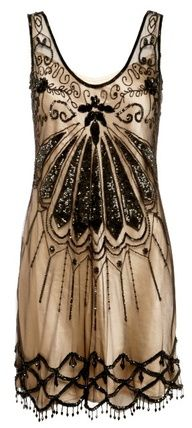 Black net and gold satin dress, Oasis #artdeco style #vintagedresses www.finditforweddings.com