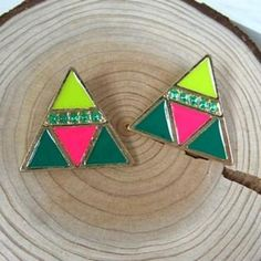 Triangle Earrings Fluorescent Yellow+Green - One Size Jewelry Box, Jewelry Accessories, Types Of Earrings, Buy Jewellery Online, Triangle Earrings, Pink And Green, Yellow, Passion For Fashion, Jewerly