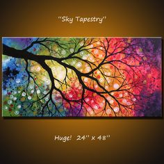 "Original Large Abstract Painting Modern... 24 x 48 .. ""Sky Tapestry"", by Amy…"