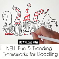 Christmas Activities, Christmas Crafts For Kids, Christmas Projects, Easy Christmas Drawings, Christmas Doodles, Christmas Rock, Xmas, Doodle Art Designs, Cute Easy Drawings