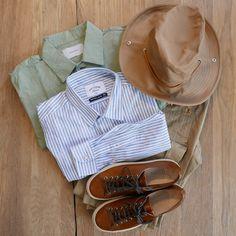 """nomanwalksalone.com  Minotaur """"wrinkles"""" shirt jacket   Monitaly utility pants   Portuguese Flannel slubby cotton shirt   ts(s) parrafin cotton bush hat"""
