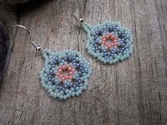 Huichol Style Lace Mandala Earrings - Peach and Green Seed Beaded - Hand Made in USA by Elewmompittseh on Etsy
