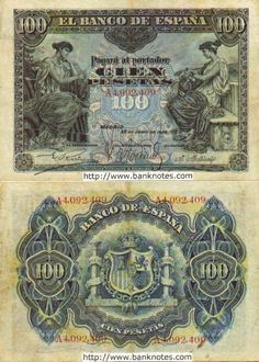 Spain 100 Pesetas 30.6.1906 Money For Nothing, Euro Coins, Retro Images, European History, Note Paper, Gold Coins, Vintage World Maps, Decoupage, Spanish