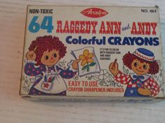 VINTAGE Raggedy Ann And Andy Colorful Crayons SEALED in Original box #crayons