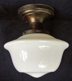 "Antique 14"" School House Light Fixture Flush Mount Acorn Glass Globe - Red Spot"