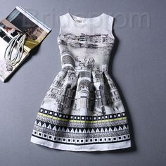 Short Retro Printing Patterns Women's Clothing Sleeveless Casual Dress YHD4-11 Size S M L XL on Luulla