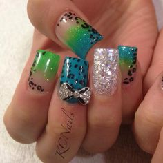 Neon nails. Bright green and blue acrylic nails with hand painted leopard print and 3D bows  KCNails