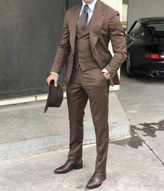 New Brown Wedding Tuxedos 2019 Slim fit Peaked Lapel Back Vent One Button Cuff Groomsman Men Suits Mens Prom Tuxedos Suits(Jacket Pants) - men fashion - Brown Tweed Suit, Mens Tweed Suit, Brown Suits, Tweed Suits, Suit Men, Mens Tux, Blue Suits, Cool Tuxedos, Men's Apparel
