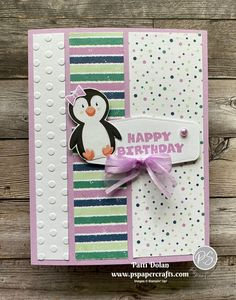 Penguin Birthday, Kids Stamps, Cute Birthday Cards, Card Sentiments, Cute Penguins, Card Sketches, Kids Cards, Cute Cards, Stampin Up Cards