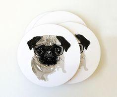 Pug Portrait Coaster Set par gusandabby sur Etsy, $10.00