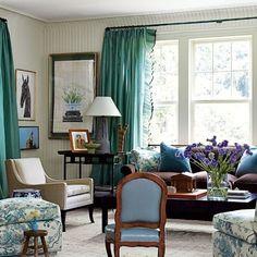 CT home by Miles Redd.  Sofa- Schumacher velvet, Slipper chairs- Jasper print.