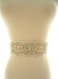 Amazing Rhinestone and Pearl Beaded Bridal Sash, Bridal Belt. $125.00, via Etsy.