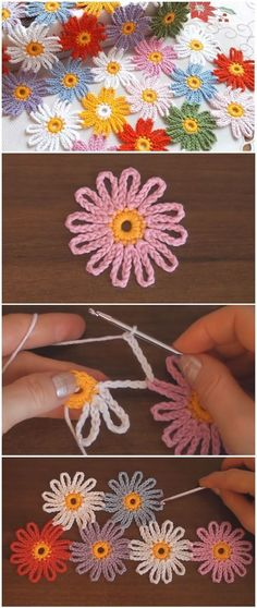 Crochet And Join Easy Flower MotifsLeaf and Lace Baby Set Free Knitting Pattern .Stricken: 100 Strickideen mit An Crochet Flower Patterns, Crochet Motif, Crochet Doilies, Crochet Flowers, Crochet Stitches, Knitting Patterns, Knit Crochet, Crochet Daisy, Crochet Ideas