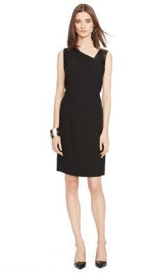 Lambskin-Trim Kaley Dress - Black Label  Short Dresses - RalphLauren.com