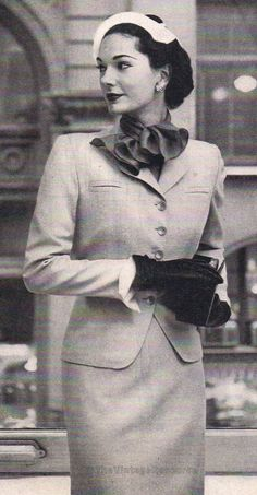 tailored wool shantung suit - 1952