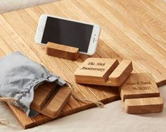 Custom Phone Stand Key Chain Personalized iPhone Holder Wood