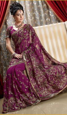 purple wedding Georgette saree