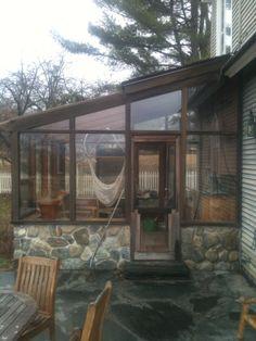Custom glass panels for sunroom by www.glassworksvt.com