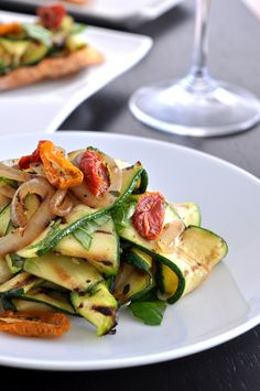 Grilled Zucchini Salad and Garlic Crostini. This was so darn good. Great for spring/summer.