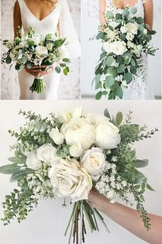 35 Simple White and Greenery Wedding Bouquets 35 Simple Whi. - 35 Simple White and Greenery Wedding Bouquets 35 Simple White and Greenery Wed - White Wedding Bouquets, Bride Bouquets, Flower Bouquet Wedding, Floral Wedding, Wedding White, Wedding Greenery, Rustic Wedding, Greenery Bouquets, Wildflowers Wedding