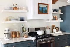 The cabinets are painted Benjamin Moore's Hidden Falls
