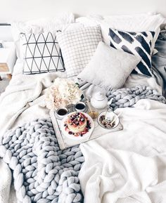 Image about white in room inspo by Bed Goals, Room Goals, My New Room, My Room, Stay In Bed, Breakfast In Bed, Morning Breakfast, Morning Coffee, Cozy Bed