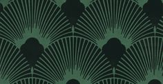 Deco Fabulous (PT009) - Nono Wallpapers - An all over geometric design in luscious black flock fans on a metallic turquoise background. More colours available. Please request a sample for true colour match. Paste-the-wall products.