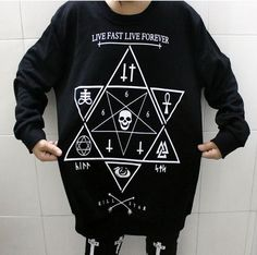 Star Print Skull Cross Sweatshirts