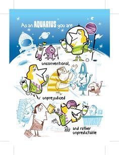 Aquarius Zodiac Birthday Card by horoscopus on Etsy,