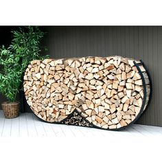 8ft Double Round Firewood Rack w/Kindling Holder & Cover