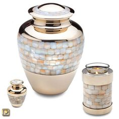 Mother of Pearl Brass Cremation Urn - Urns Northwest