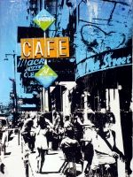 Deanna Fainelli Premium Thick-Wrap Canvas Wall Art Print entitled Urban Collage Street Scene, None Original Art For Sale, Online Gallery, Vintage Signs, Fine Art Photography, Online Art, Original Paintings, Mixed Media, Neon Signs, The Originals