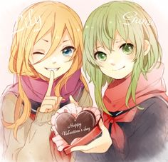Anime Valentines Day   Vocaloid Gumi and Lily Anime St. Valentine's Day Wallpaper  How Cute :)