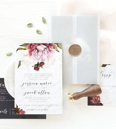 Wedding Stationery Trends for 2018, wedding invitation embellishments such as wax seals, silk ribbons, and vintage stamps | www.MintForHue.com