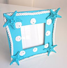 Decorated Picture Frame turquoise coastal home by ginalimosaics, $27.00