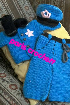Traje policia niña crochett